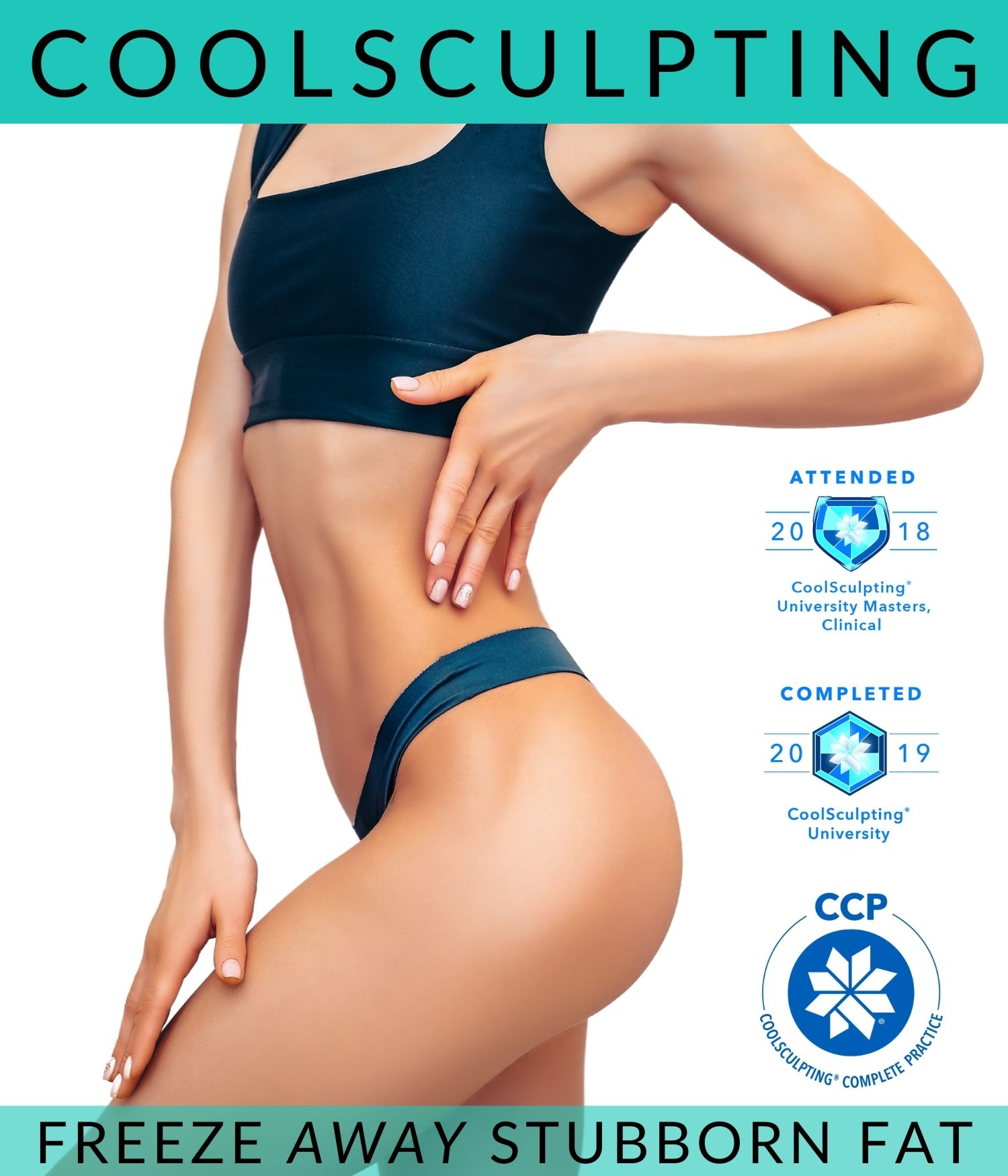 beautiful and fit body promoting CoolSculpting treatment