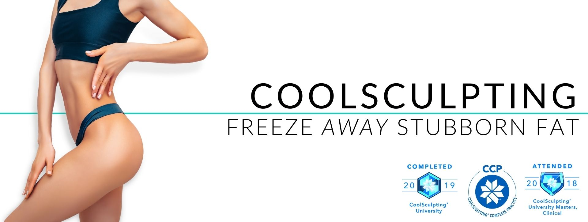 Young woman with slim belly promoting CoolSculpting treatment