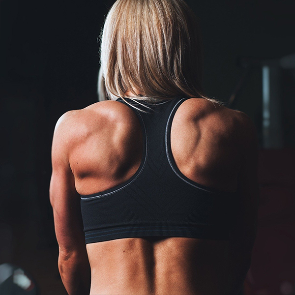 woman's showing her back muscle